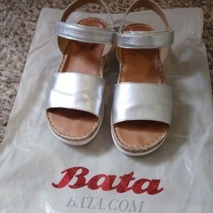 BATA Silver leather sandals
